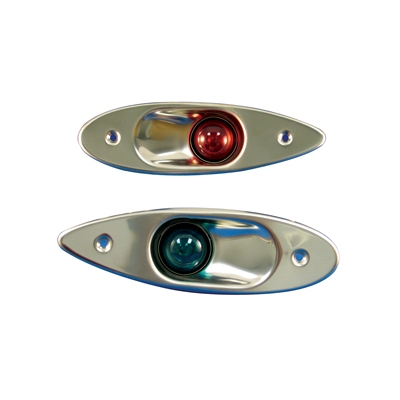 Side Light Pair Red Green Flush Stainless Steel Incandescent Marpac LT0110160