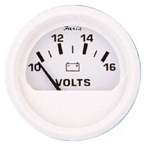 "Gauge Boat Auto Voltmeter 2"" 10-16V DC Dress White Series Faria 13120"